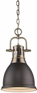Golden Lighting 3602-S-AB-RBZ Duncan Modern Aged Brass Small Pendant Light