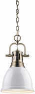 Golden Lighting 3602-S-AB-WH Duncan Contemporary Aged Brass Small Lighting Pendant
