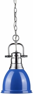 Golden Lighting 3602-S-CH-BE Duncan Modern Chrome Small Pendant Lamp