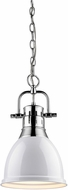 Golden Lighting 3602-S-CH-WH Duncan Contemporary Chrome Small Hanging Pendant Lighting