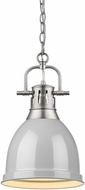 Golden Lighting 3602-S-PW-GY Duncan Contemporary Pewter Mini Pendant Lighting Fixture