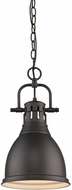 Golden Lighting 3602-S-RBZ-RBZ Duncan Modern Rubbed Bronze Small Ceiling Pendant Light