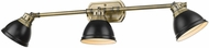 Golden Lighting 3602-VL3-AB-BLK Duncan Aged Brass / Matte Black Bath Lighting