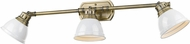 Golden Lighting 3602-VL3-AB-WH Duncan Aged Brass / White Bath Light Fixture
