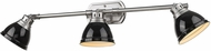 Golden Lighting 3602-VL3-PW-BK Duncan Pewter / Black Vanity Lighting Fixture