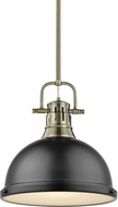 Golden Lighting 3604-L-AB-BLK Duncan Modern Aged Brass Hanging Pendant Lighting