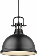 Golden Lighting 3604-L-BLK-BLK Duncan Contemporary Black Hanging Pendant Light