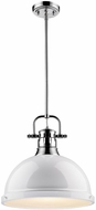 Golden Lighting 3604-L-CH-WH Duncan Modern Chrome Pendant Lamp