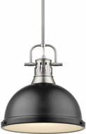 Golden Lighting 3604-L-PW-BLK Duncan Modern Pewter Pendant Hanging Light