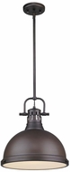 Golden Lighting 3604-L-RBZ-RBZ Duncan Contemporary Rubbed Bronze Pendant Hanging Light