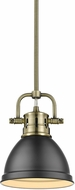 Golden Lighting 3604-M1L-AB-BLK Duncan Modern Aged Brass Mini Drop Lighting