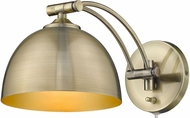 Golden Lighting 3688-A1W-AB-AB Rey Aged Brass Wall Swing Arm Lamp