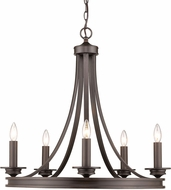Golden Lighting 3863-5-RBZ Wesson Black Mini Chandelier Lamp