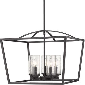 Golden Lighting 4309-5-BLK-BLK-SD Mercer Contemporary Matte Black Entryway Light Fixture