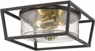 Golden Lighting 4309-FM-BLK-AB-SD Mercer Modern Matte Black Flush Mount Lighting Fixture