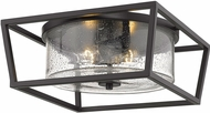 Golden Lighting 4309-FM-BLK-BLK-SD Mercer Contemporary Matte Black Flush Ceiling Light Fixture