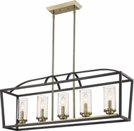 Golden Lighting 4309-LP-BLK-AB-SD Mercer Modern Matte Black Island Lighting