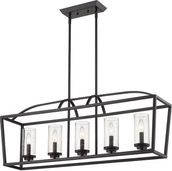 Golden Lighting 4309-LP-BLK-BLK-SD Mercer Contemporary Matte Black Kitchen Island Lighting