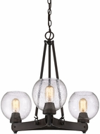 Golden Lighting 4855-3-RBZ-SD Galveston Contemporary Rubbed Bronze Mini Chandelier Lamp