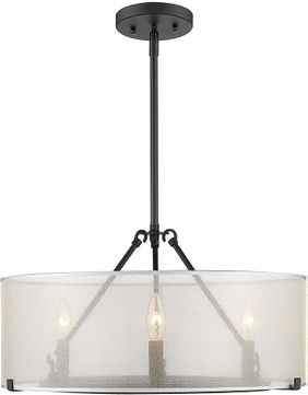 Golden Lighting 5019-3-S BLK Alyssa Matte Black 20  Drum Drop Lighting Fixture