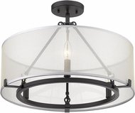 Golden Lighting 5019-3SF-BLK Alyssa Contemporary Matte Black Ceiling Light Fixture