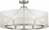 Golden Lighting 5019-6SF-PW Alyssa Modern Pewter Flush Lighting