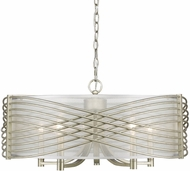 Golden Lighting 5516-5-WG-SHR Zara Contemporary White Gold Drum Ceiling Light Pendant