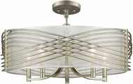 Golden Lighting 5516-5SF-WG-SHR Zara Contemporary White Gold Flush Mount Lighting