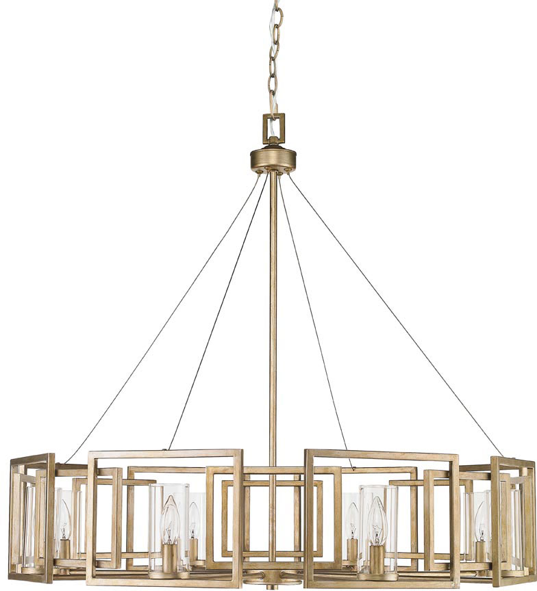 Golden Lighting 6068 8 WG Marco Modern White Gold Chandelier Lighting    GOL 6068 8 WG