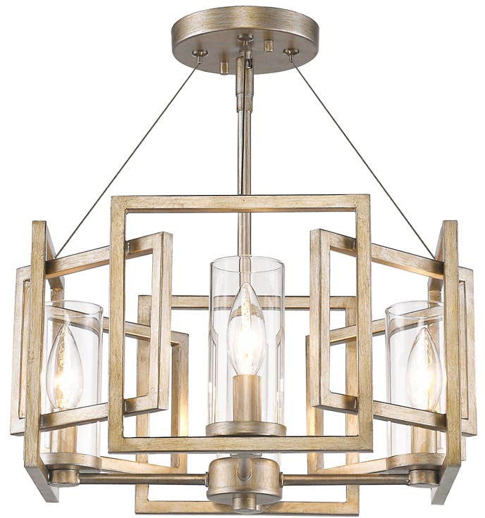 Golden Lighting 6068 Sf Wg Marco Modern White Gold Semi Flush Ceiling Loading Zoom