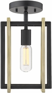 Golden Lighting 6070-1SF-BLK-AB Tribeca Modern Black Overhead Lighting Fixture