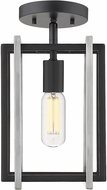 Golden Lighting 6070-1SF-BLK-PW Tribeca Modern Black Ceiling Light