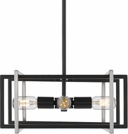 Golden Lighting 6070-4P-BLK-PW Tribeca Contemporary Black Hanging Lamp