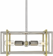 Golden Lighting 6070-4P-PW-AB Tribeca Modern Pewter Hanging Light