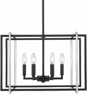 Golden Lighting 6070-6-BLK-PW Tribeca Modern Black 21  Pendant Hanging Light