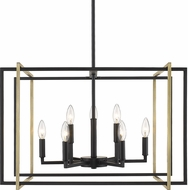 Golden Lighting 6070-9-BLK-AB Tribeca Modern Black 26  Ceiling Light Pendant