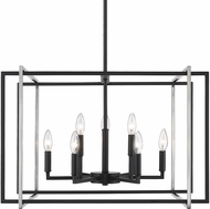 Golden Lighting 6070-9-BLK-PW Tribeca Modern Black 26  Drop Ceiling Light Fixture