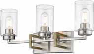 Golden Lighting 6070-BA3-PW-AB Tribeca Contemporary Pewter 3-Light Bathroom Sconce Lighting
