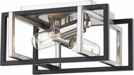 Golden Lighting 6070-FM-PW-BLK Tribeca Modern Pewter Flush Mount Lighting Fixture