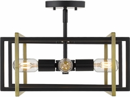 Golden Lighting 6070-SF-BLK-AB Tribeca Modern Black Flush Mount Ceiling Light Fixture