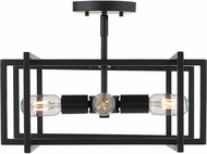 Golden Lighting 6070-SF-BLK-BLK Tribeca Contemporary Black Home Ceiling Lighting