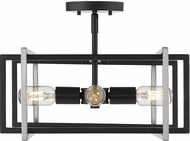 Golden Lighting 6070-SF-BLK-PW Tribeca Modern Black Overhead Light Fixture
