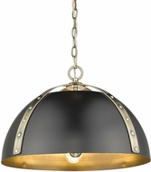 Golden Lighting 6928-3P-AB-BLK Aldrich Contemporary Aged Brass Pendant Lighting