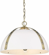 Golden Lighting 6928-3P-AB-WHT Aldrich Modern Aged Brass Pendant Light