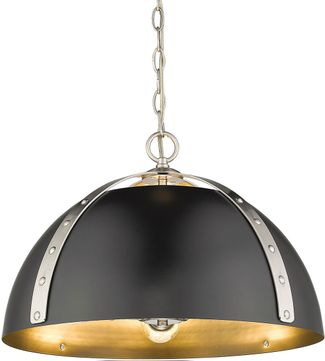 Golden Lighting 6928-3P-PW-BLK Aldrich Contemporary Pewter Lighting Pendant