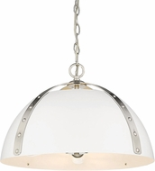 Golden Lighting 6928-3P-PW-WHT Aldrich Modern Pewter Pendant Lamp
