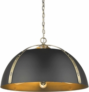 Golden Lighting 6928-5P-AB-BLK Aldrich Contemporary Aged Brass Hanging Lamp