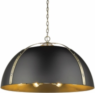 Golden Lighting 6928-8P-AB-BLK Aldrich Contemporary Aged Brass Hanging Pendant Lighting