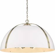 Golden Lighting 6928-8P-AB-WHT Aldrich Modern Aged Brass Hanging Pendant Light