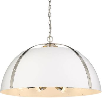 Golden Lighting 6928-8P-PW-WHT Aldrich Modern Pewter Hanging Light Fixture